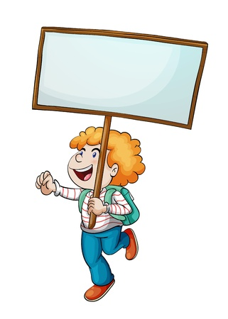 people holding sign: Illustration of a boy and a sign