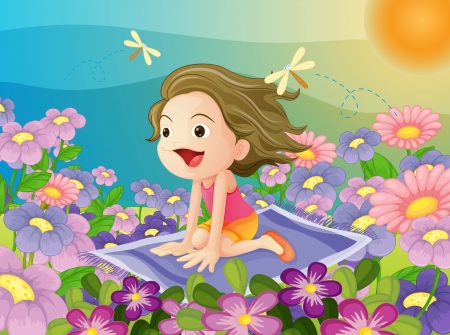 illustration of a girl flying on a mat