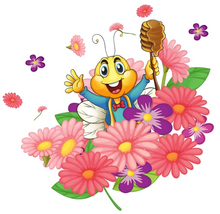 bee on white flower: illustration of a honey bee in the flowers