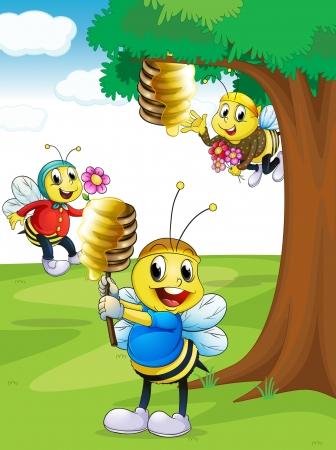 miel et abeilles: illustration d'un abeilles avec du miel sous un arbre