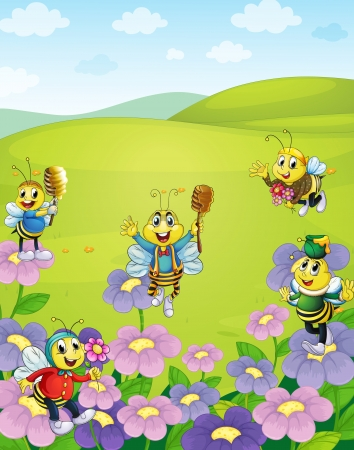 miel et abeilles: illustration d'un des abeilles dans les fleurs