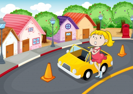 curb: illustration of a girl with car on road