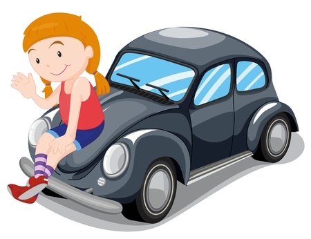 illustration of a girl sitting on a car on a white background Vector