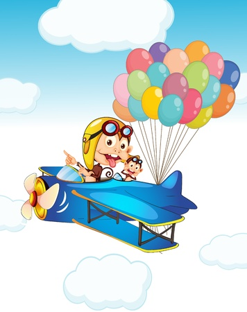 air animals: illustration of a monkey in aeroplane with balloons Illustration