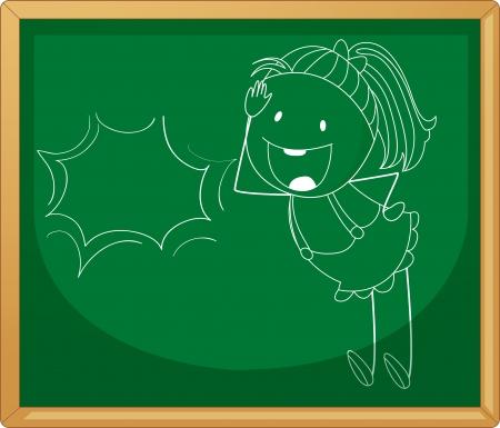 green board: illustration of a girl sketch on a green board