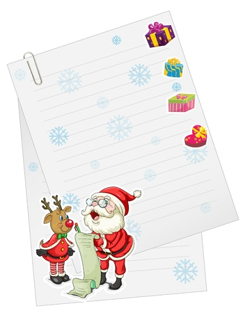 santaclause: illustration of a santaclause and reindeer with paper note