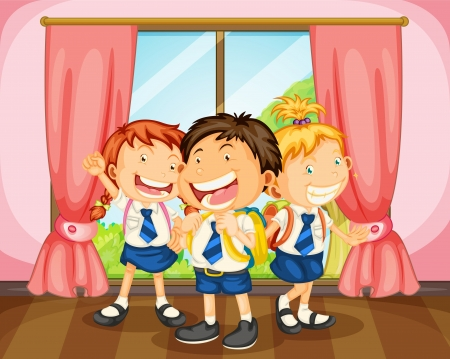 cartoon school girl: illustration of a kids in room near a window