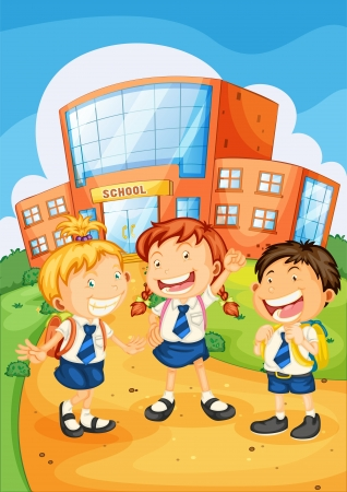 school uniform: illustration of a kids infront of school building