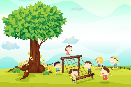 under a tree: illustration of a kids playing under a tree
