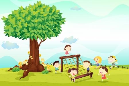 obstacle: ilustración de unos niños jugando bajo un árbol Vectores