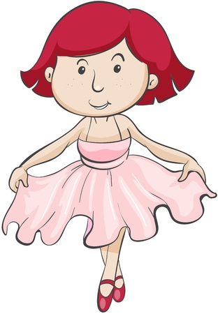 bowing: illustration of a girl in pink frock on a white background Illustration
