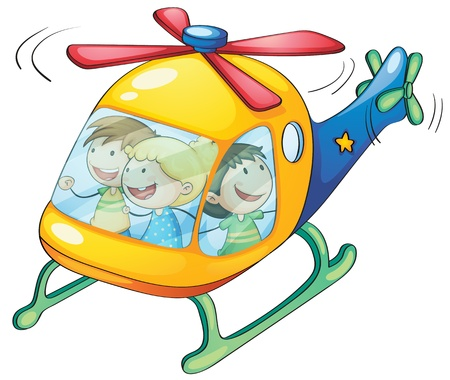 man flying: illustration of a kids in a helicopter Illustration
