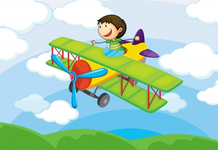 illustration of a boy on a aircraft in the sky Vector