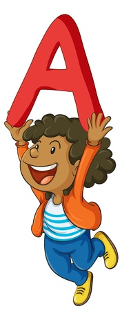 letter alphabet pictures: illustration of a girl with letter A on a white background