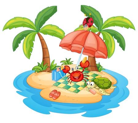 tortuga caricatura: ilustración de una varios animales en una isla Vectores
