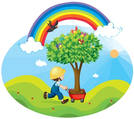 illustration of a boy carrying tree in a trolley Vector