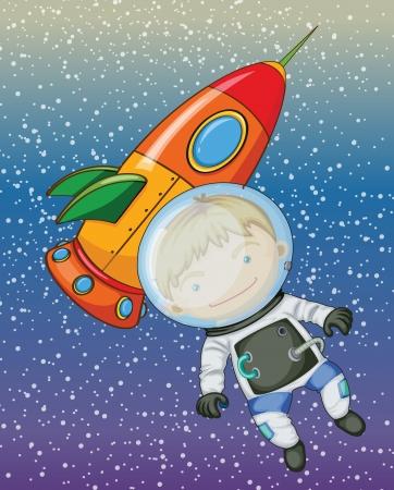 illustratie van een jongen en een raket in de lucht