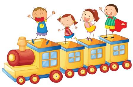 zug cartoon: Illustration eines Kinder auf einen Zug auf wei�em Hintergrund