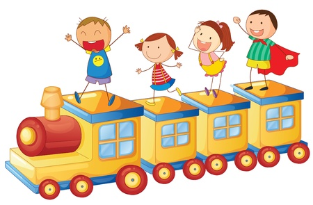illustration of a kids on a train on white background Vector