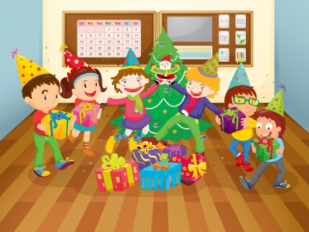 christmas room: illustration of a kids in the class room