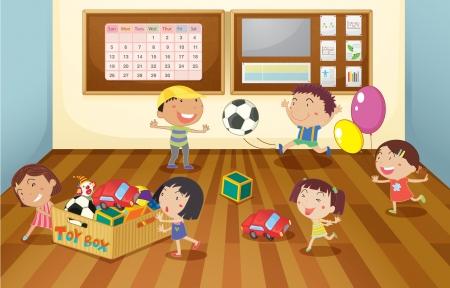 game boy: illustration d'un des enfants dans la salle de classe Illustration