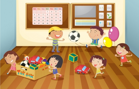 board room: Ilustraci�n de un ni�os en la sala de clases