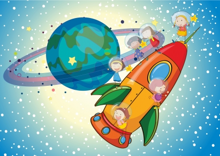 enjoy space: illustration of a kids on a rocket in the sky