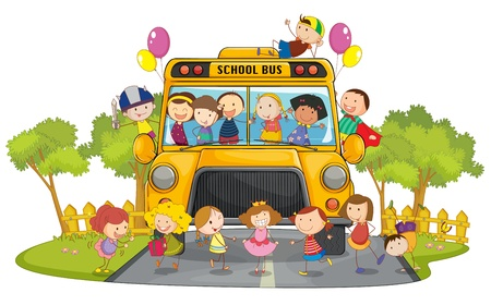 lanscape: illustration of kids and school bus in nature