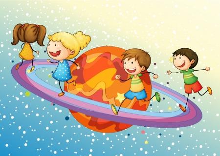 illustratie van een kinderen op saturnus planeet in het universum