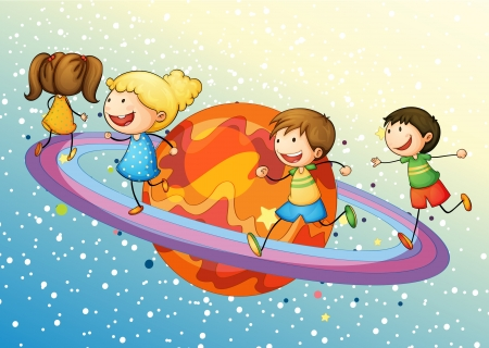 enjoy space: illustration of a kids on saturn planet in the universe Illustration
