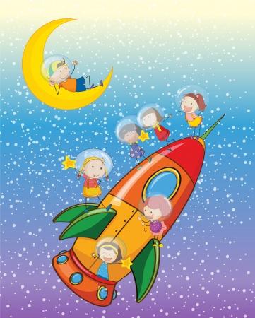 shuttle: illustratie van een kinderen op een raket in de lucht Stock Illustratie