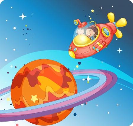 Illustration eines Kinder in einem Raumschiff in den Himmel