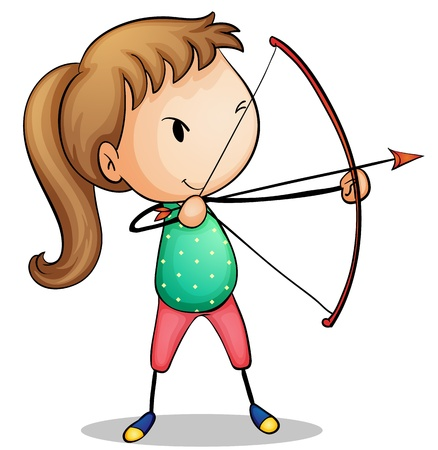 hair bow: Illustration of a girl with archery set Illustration