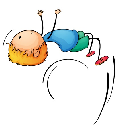 Illustration of a boy doing a backflip