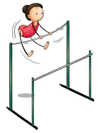 gimnastas: Ilustraci�n de una ni�a en las barras asim�tricas