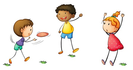children playing together: Illustration of simple kids playing Illustration