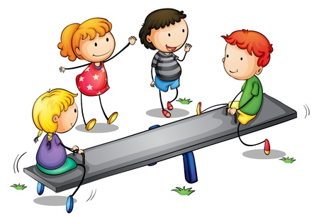 bimbi che giocano: Illustrazione di bambini su una altalena