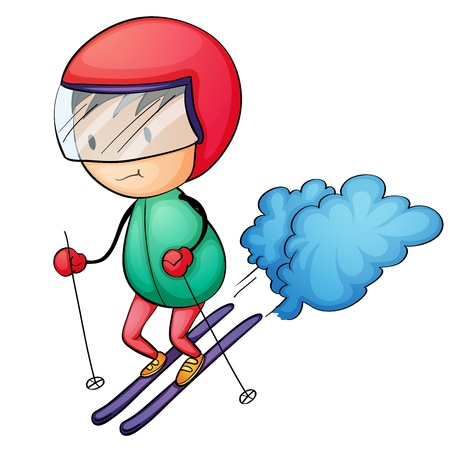 slalom: Ilustracja nartach chłopca