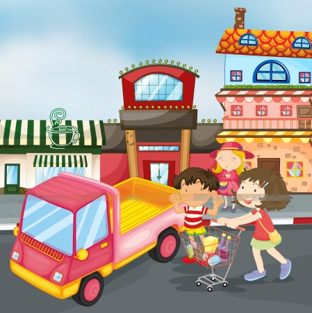 illustration of truck and kids on the road Illustration