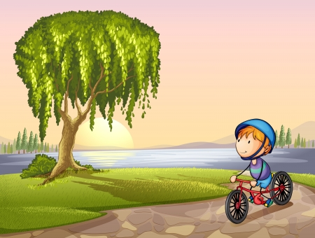 Illustration of a boy in a park