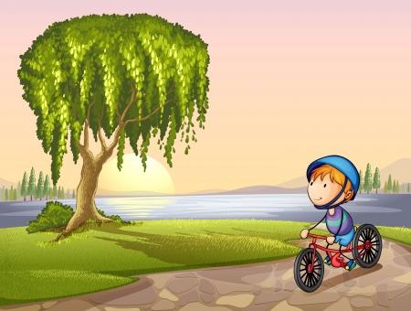 sauce: Ilustración de un niño en un parque Vectores