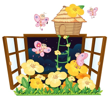small flower: illustration of flies, bird house and window on white background Illustration