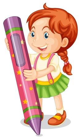 niños con lÁpices: Ilustración de una niña con un lápiz sobre un fondo blanco
