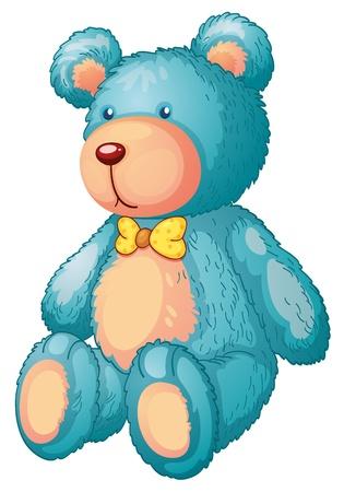 oso caricatura: Ilustración de un oso de peluche azul Vectores