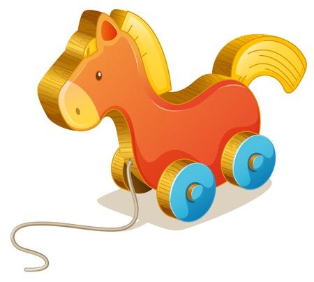 pull toy: Ilustración de un caballo de juguete en blanco Vectores