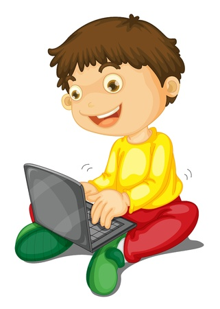 illustration of a laptop and boy on a white background Vector