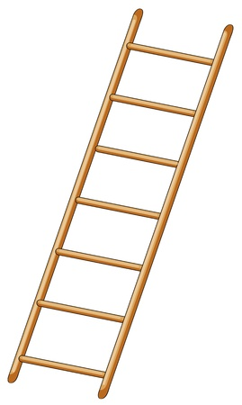 wooden stairs: illustration of ladder on white background Illustration
