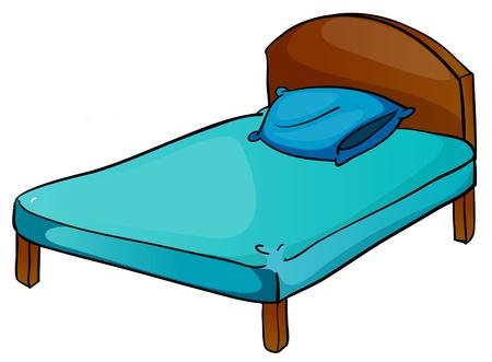 illustratie van bed en kussen op een witte achtergrond