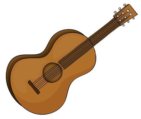 stringed: illustration of a guitar in white background