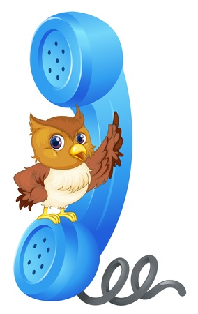 chatting: illustration of owl and phone receiver on a white background Illustration